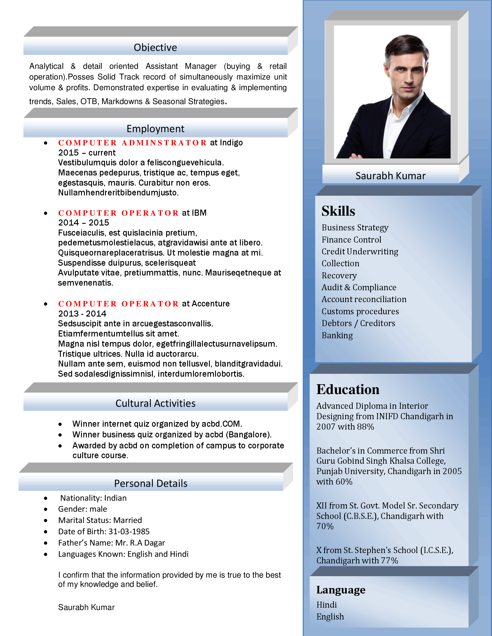 HR Executive Resume Resume for HR Executive