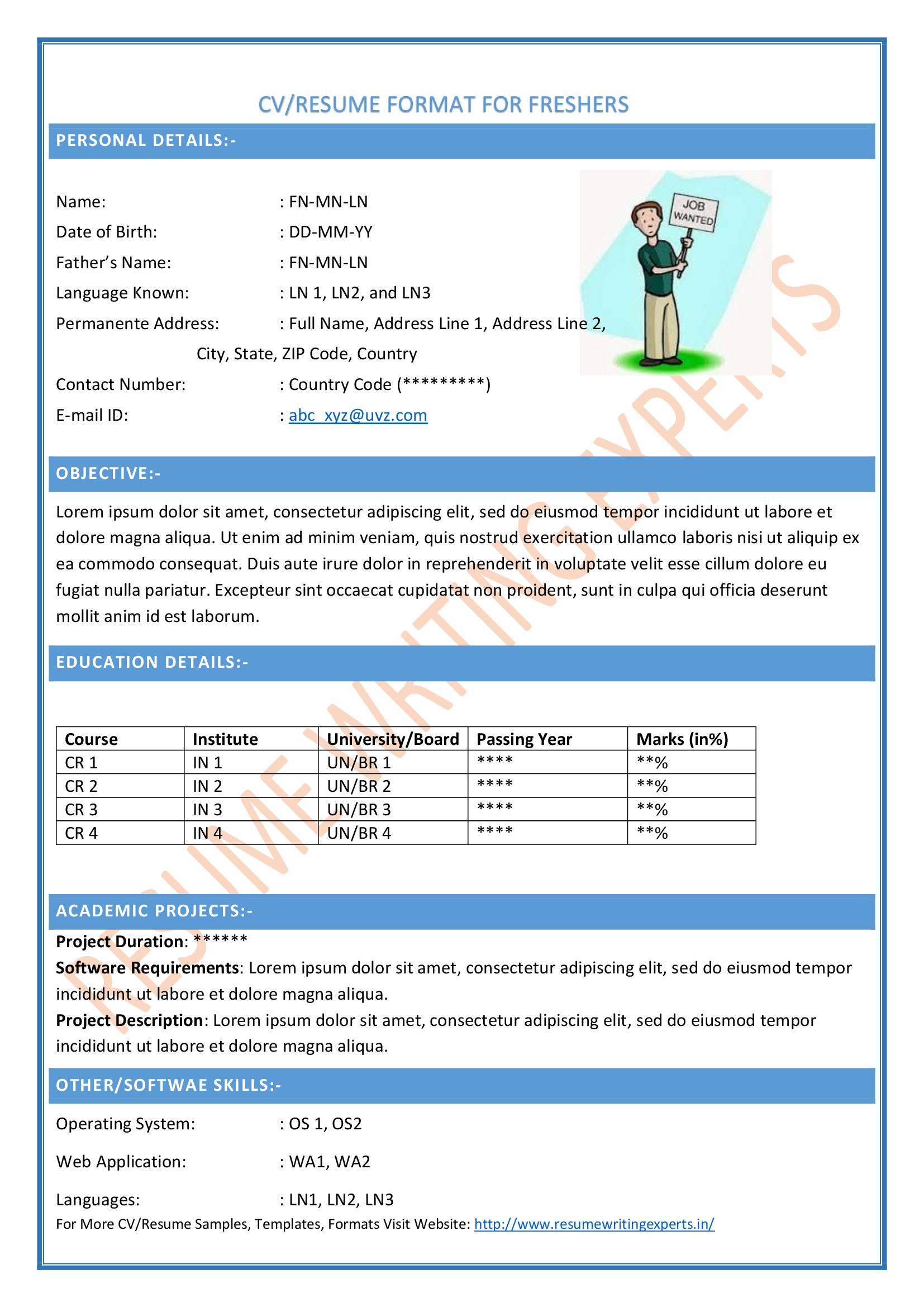 browse our popular resume formats - Www Resume Format Free Download